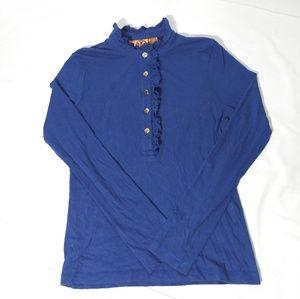 Tory Burch Bright Blue Ruffled Polo Shirt Sz L
